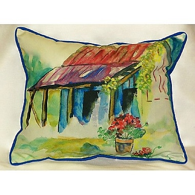 Betsy Drake Interiors Barn and Geranium Indoor/Outdoor Lumbar Pillow