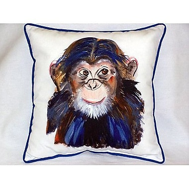 Betsy Drake Interiors Chimpanzee Indoor/Outdoor Throw Pillow
