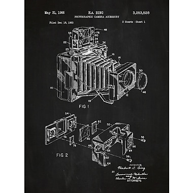 Inked and Screened Photographic Camera Blueprint Graphic Art