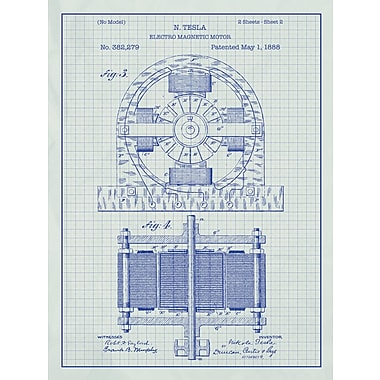 Inked and Screened Tesla Electro Magnetic Motor Blueprint Graphic Art