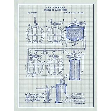 Inked and Screened Process of Making Beer Blueprint Graphic Art