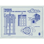 Inked and Screened Doctor Who Tardis Blueprint Graphic Art