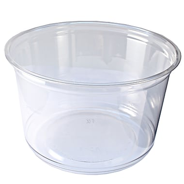 Fabri-Kal Polyethylene Round Deli Containers, 16 oz., Clear, 500/Case