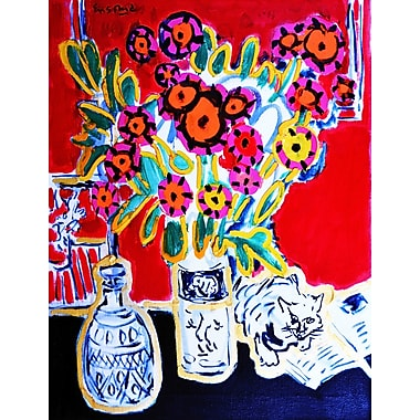 Marmont Hill 'Happy Cat' by Wayne Ensrud Painting Print on Wrapped Canvas; 39'' H x 30'' W