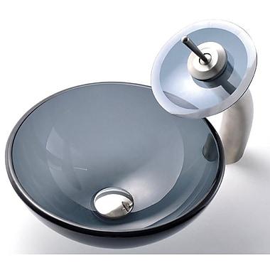 Kraus Circular Vessel Bathroom Sink; Satin Nickel