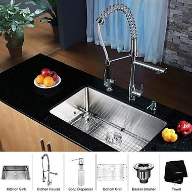Kraus 30'' x 16'' Undermount Kitchen Sink w/ Faucet and Soap Dispenser; Chrome
