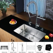 Kraus Stainless Steel 30'' x 16'' Undermount Kitchen Sink w/ Faucet and Soap Dispenser; Chrome