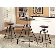 Hokku Designs Marlett 3 Piece Adjustable Height Pub Table Set; Dark Brown