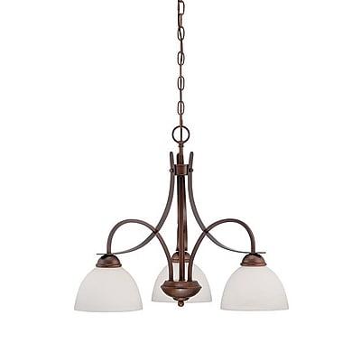 Millennium Lighting 3-Light Shaded Chandelier; Rubbed Bronze