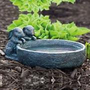 Evergreen Flag & Garden Bunny Birdbath