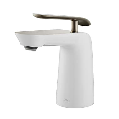 Kraus Seda Single Hole Single Handle Bathroom Faucet; Brushed Nickel/White