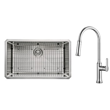 Kraus Kitchen Combos 30'' x 18'' Undermount Kitchen Sink w/ Faucet; Chrome