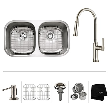 Kraus Kitchen Combos 32'' x 18'' Double Basin Undermount Kitchen Sink w/ Faucet; Stainless Steel