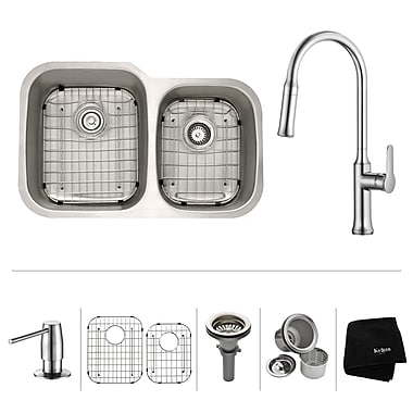 Kraus Kitchen Combos 32'' x 20.63'' Double Basin Undermount Kitchen Sink w/ Faucet; Chrome