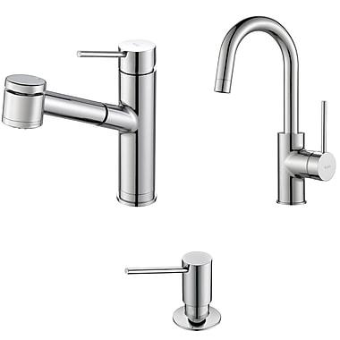 Kraus Oletto Pull Out Kitchen Faucet w/ Bar/Prep Faucet w/ Soap Dispenser; Chrome