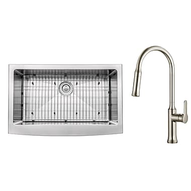 Kraus Kitchen Combos 33'' x 20.75'' Farmhouse/Apron Kitchen Sink w/ Faucet; Stainless Steel