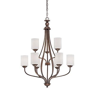 Millennium Lighting Lansing 9-Light Shaded Chandelier; Rubbed Bronze
