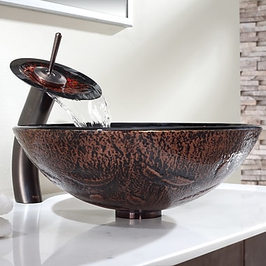 Kraus Lava Glass Circular Vessel Bathroom Sink w/ Faucet; Oil Rubbed Bronze