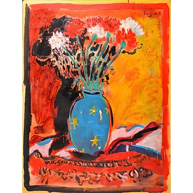 Marmont Hill 'Blue Vase' by Wayne Ensrud Painting Print on Wrapped Canvas; 52'' H x 40'' W