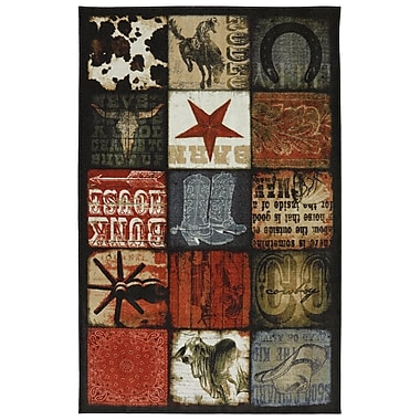 Mohawk Home Cowboy Patches Nylon 5'x8' Multi-Colored Rug (086093431280)
