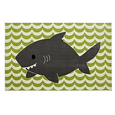 Mohawk Home Smiling Shark Nylon 5'x8' Lime Green Rug (086093477882)