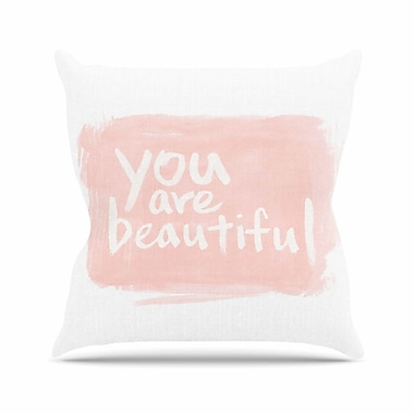 KESS InHouse Brush Lettering Beautiful Throw Pillow; 16'' H x 16'' W