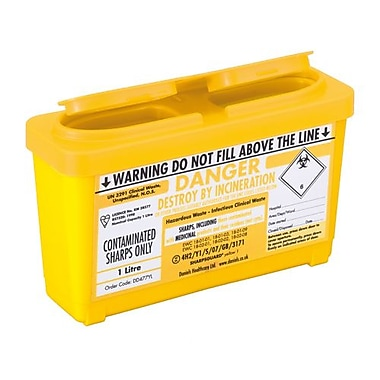 Daniels Astroplast Sharps Container, Yellow, 4L, 3/Pack