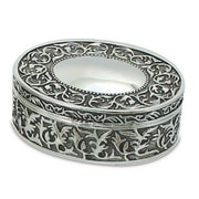 "Elegance Nickel Plated Oval Jewelry Box, 5""x4.25"""