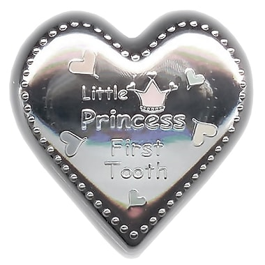 Elegance Silver-Plated Little Princess Tooth Box, Heart Shape