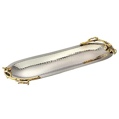 Elegance – Long plat ovale avec feuilles d'or