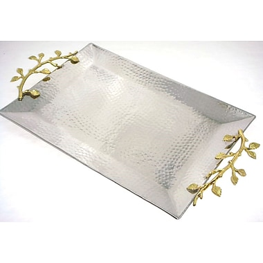 Elegance Gilt Leaf Rectangular Tray Stainless Steel