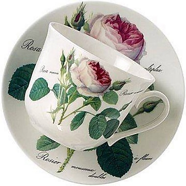 Roy Kirkham Breakfast Cup/Saucer, Redoute Rose, Set of 2