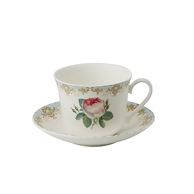 Roy Kirkham Breakfast Cup/Saucer, Vintage Roses, Set of 2