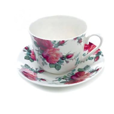 Roy Kirkham Breakfast Cup/Saucer, English Rose Chintz, Set of 2
