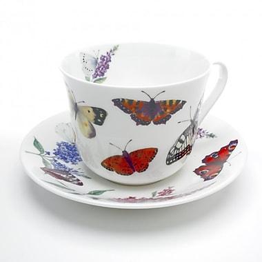 Roy Kirkham – Ensemble de 2 tasses et soucoupes pour déjeuner, modèle Papillons