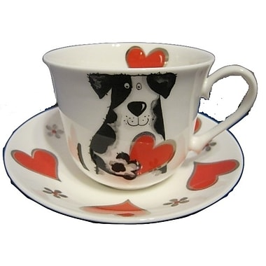 Roy Kirkham Breakfast Cup/Saucer, Love My Dog, Set of 2
