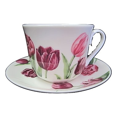 Roy Kirkham Breakfast Cup/Saucer, Tulip Garden, Set of 2