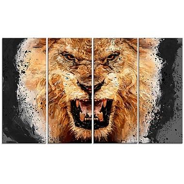 Designart – Toile imprimée, Lion féroce, 4 panneaux
