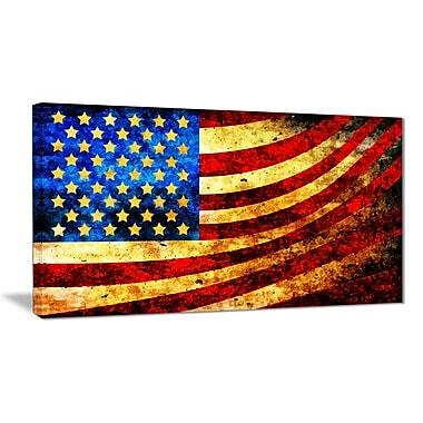 Designart- God Bless America Flag Canvas Art, (PT3017-28X60)