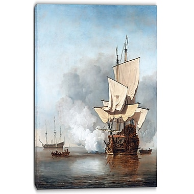 Designart Willem van de Velde, The Cannon Shot Canvas Art Print, (PT5000-16-32)