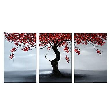 Designart – Falling Leaves, peinture à l'huile, 3 panneaux, 48 x 24 po (OL1122)