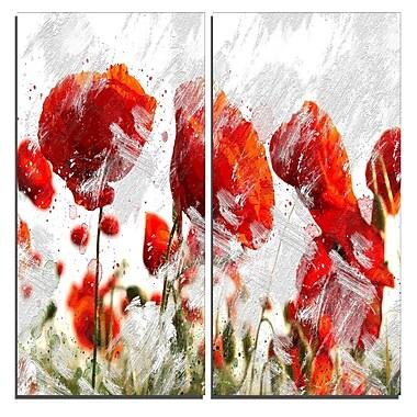 Designart – Art imprimé sur toile, bourgeons orange et rouge, 40 larg. x 40 haut.(po), 2 panneaux, (PT3432-40-40)