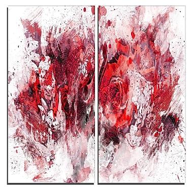Designart – Art imprimé sur toile, fleurs violettes et rouges, 40 larg. x 40 haut. (po), 2 panneaux (PT3414-4-40-40)