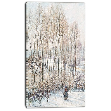 Designart Camille Pissarro, Morning Sunlight on the Snow Canvas Art Print, 3 Panels, (PT4190-16-32)