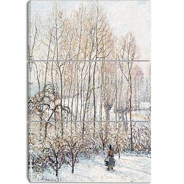 Designart – Imprimé sur toile, Lumière du soleil du matin sur la neige de Camille Pissarro, 3 panneaux (PT4190-3P)