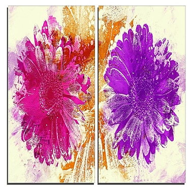 Designart Pink and Purple Sunflowers Canvas Art Print, 40