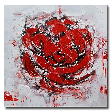 Designart,Red Textured Floral Art- Hand Painted, 40 x 40, (OL3403-40-40)