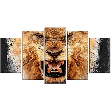 Designart Be Fierce 5-Panel Lion Canvas Art Print, (PT2469-373)