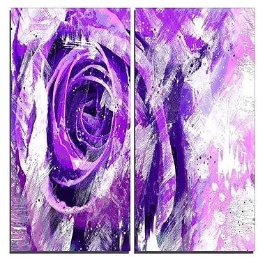 Designart – Art imprimé sur toile, rose violette, 40 larg. x 40 haut. (po), 2 panneaux (PT3423-1-40-40)