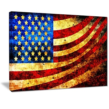 Designart- God Bless America Flag Canvas Art, (PT3017-20X40)